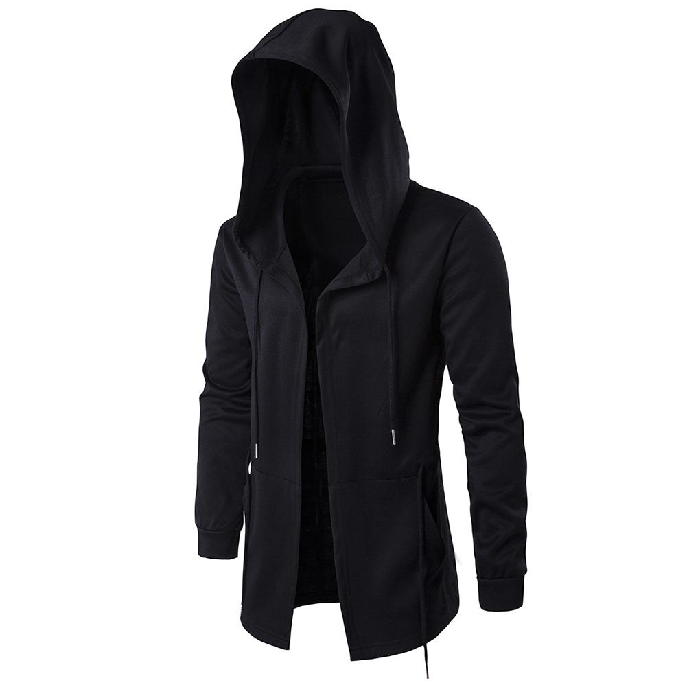 Men Retro Black Wizard's Cloak Style Cardigan Casual Long-Sleeve Hooded Coat black_XL