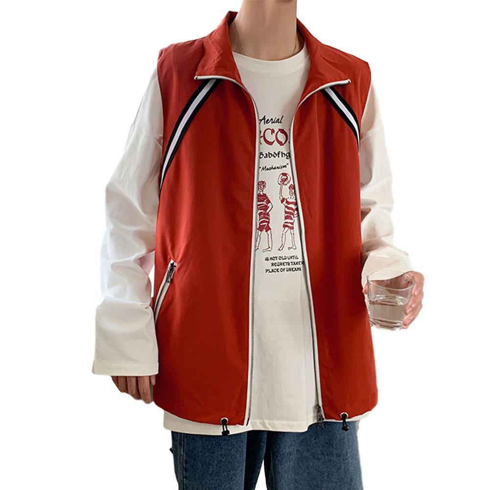 Men's Vest Autumn Loose Color Matching Large Size Casual Waistcoat Vest Orange _M