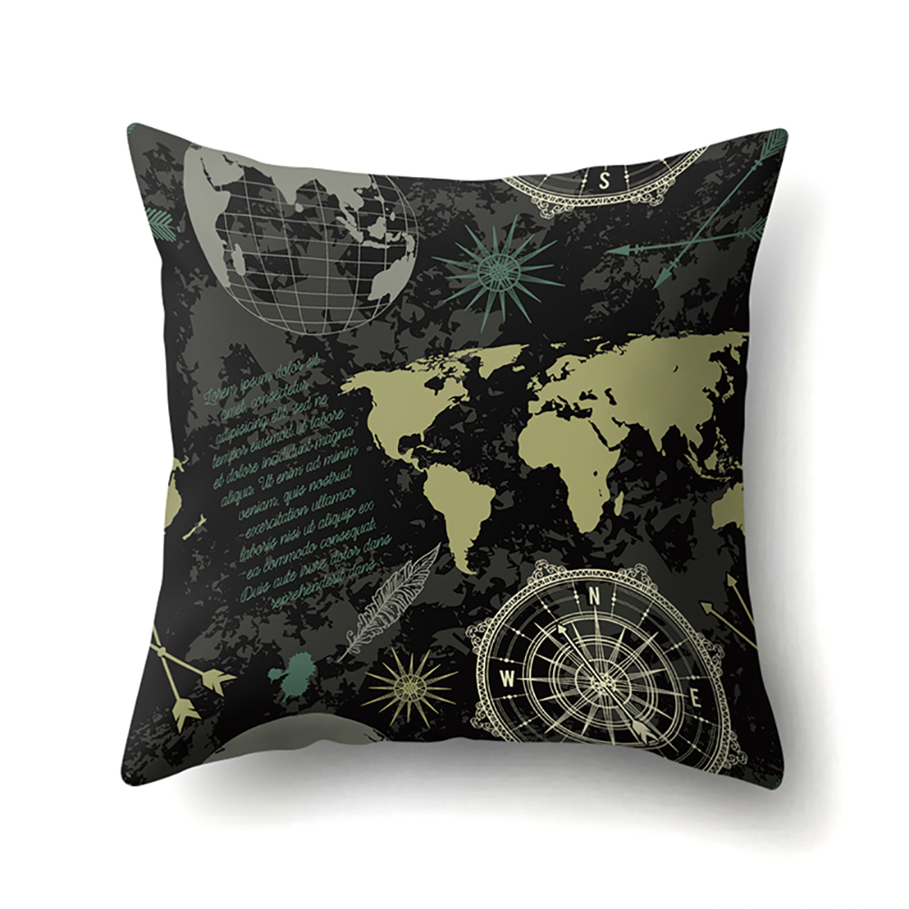 Square World Map Compass Pillowcase Cushion Throw Pillow Cover Printed Living Room Sofa Pillow Case 45*45cm CCA419(12)