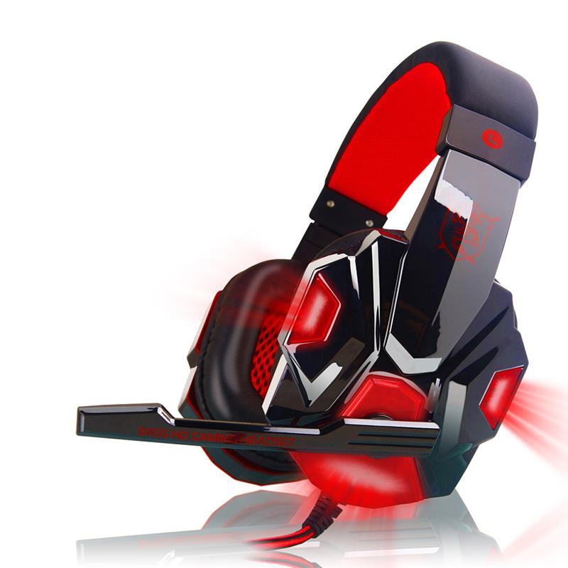 Gaming Headset Head-mounted Luminous 3.5mm Lightweight Headphone Black red