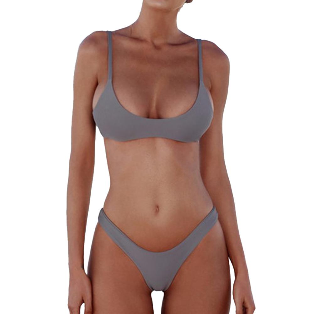 2 Pcs/set Women  Sexy  Bikini Solid Color Fashion Split Two-piece Swimwear Bathing Suit gray_S