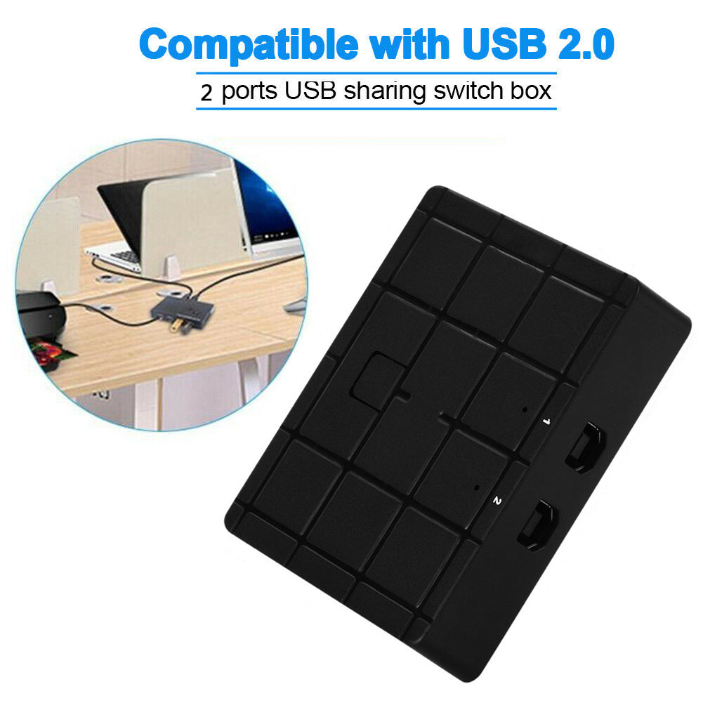 2 Port USB 2.0 Sharing Switcher Adapter Switch Box for PC Scanner Printer Manual black