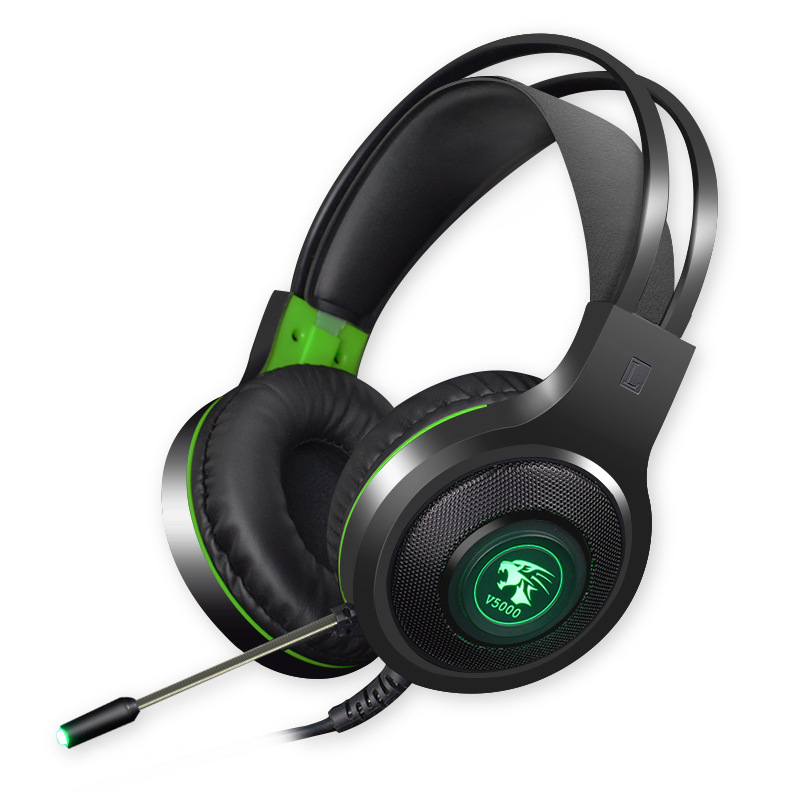 V5000 Gaming Headphones 7.1 Channel with Microphone Game Headset Over Ear 3.5 plug (luminous version)