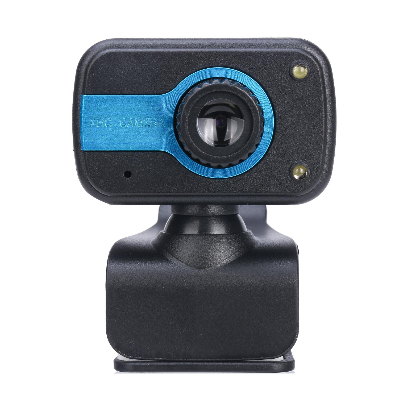 30 Degrees Adjustable Webcam USB Camera Video Recording Web Camera with Microphone dark blue
