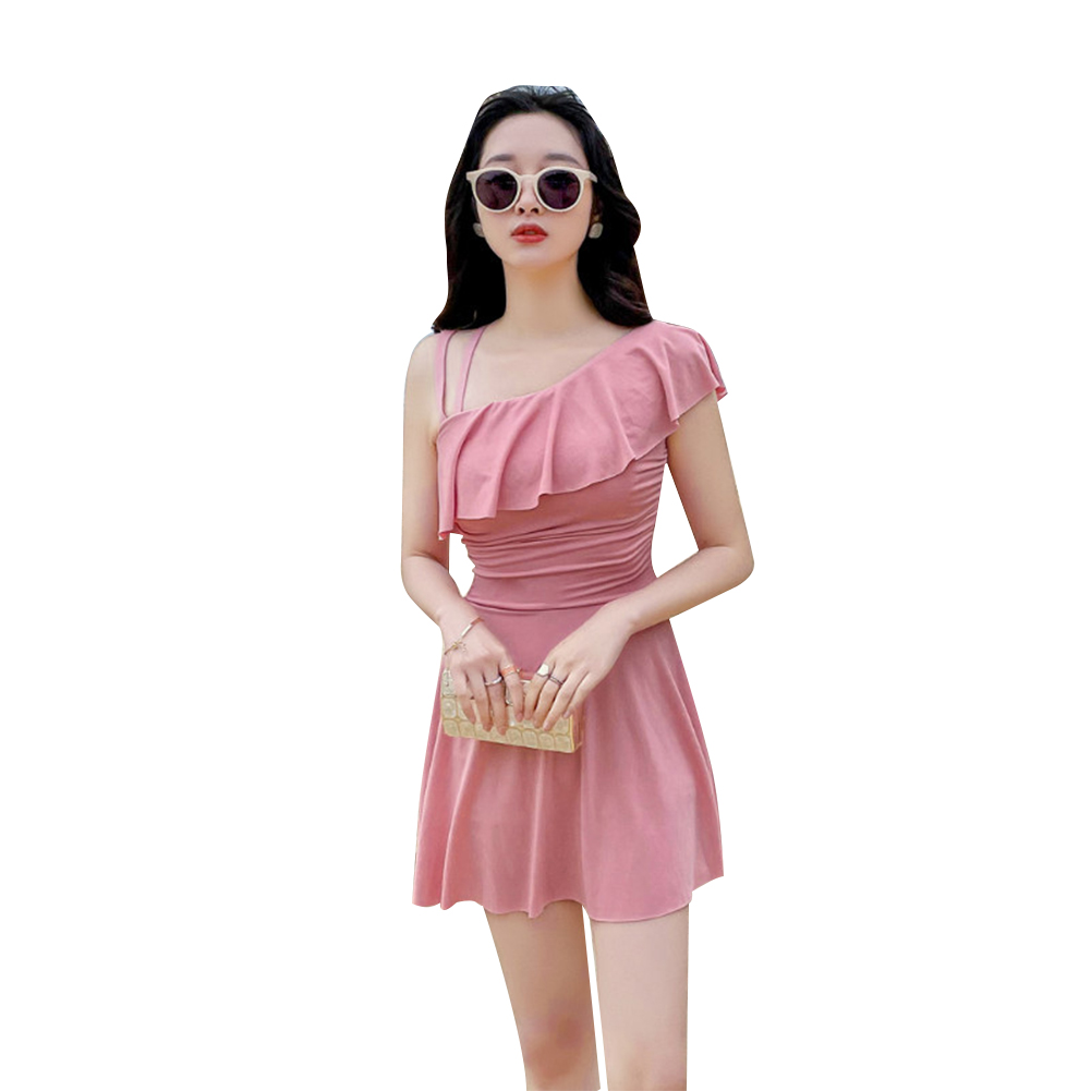 Women Swimsuit Conservative Solid Color Thin Type One-piece Boxer Shorts Swimwear Pink_L