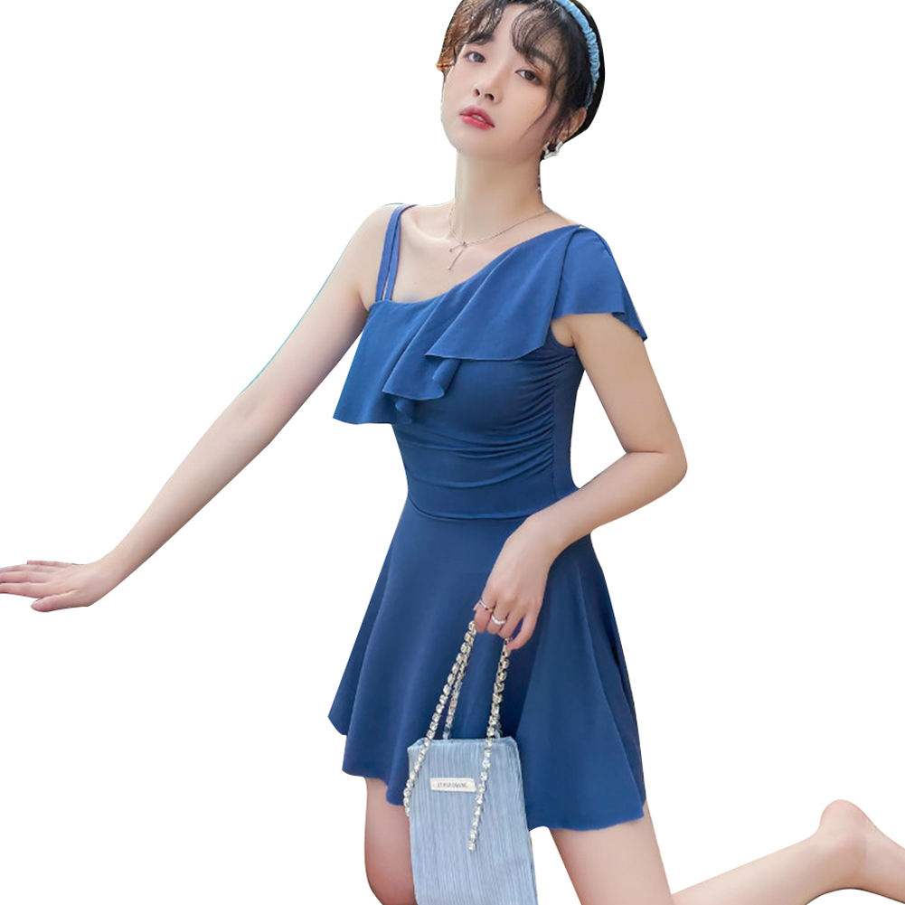 Women Swimsuit Conservative Solid Color Thin Type One-piece Boxer Shorts Swimwear blue_M