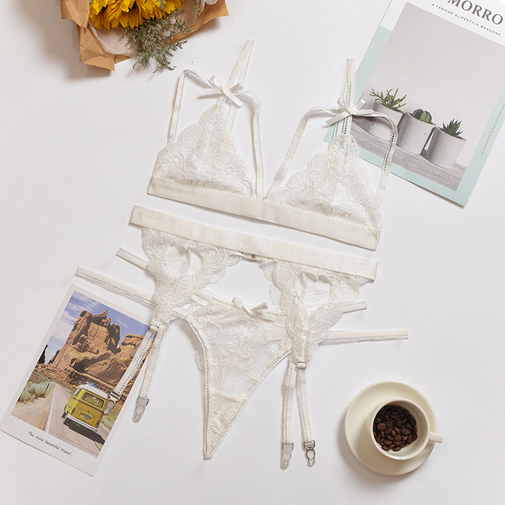 Women Lingerie Sexy Lace Bra Erotic Bra Briefs Set Plus Size Sexy Underwear white_XL