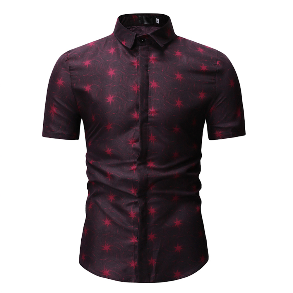 Men Short Sleeve Slim Leisure Printing Shirt red_3XL