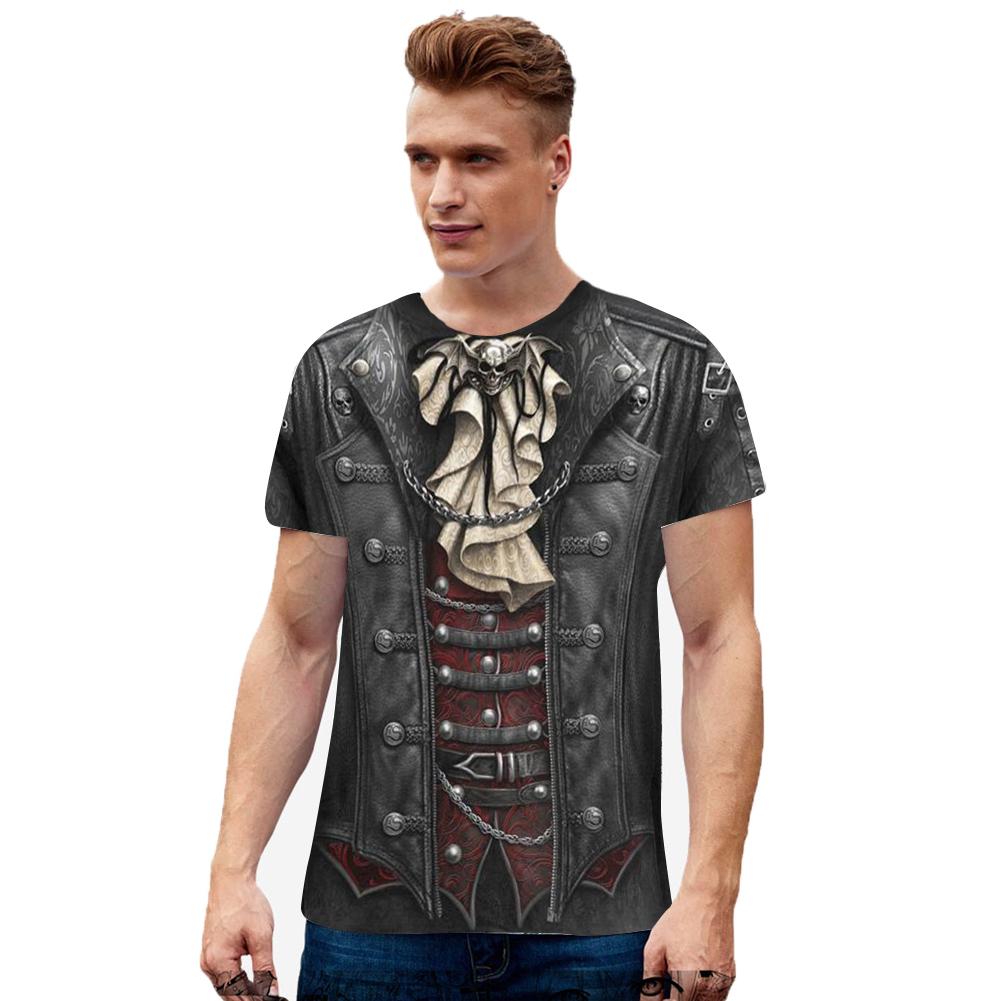 Unisex 3D Digital Printed Round Neck Cotton Short Sleeve T-shirt as shown_XXXL