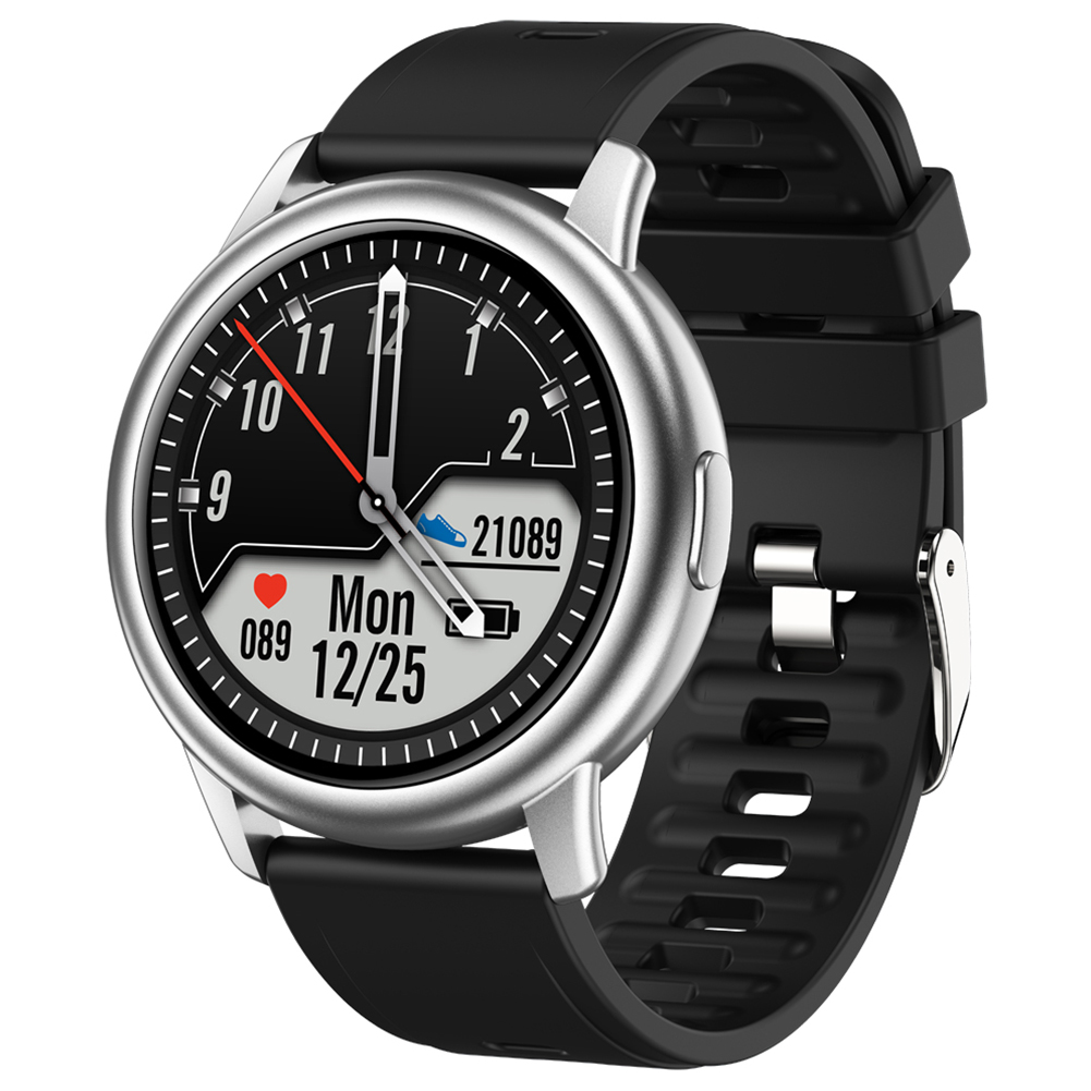 Original LEMFO Lf28 Smartwatch Ip68 Waterproof Heart Rate Monitor Sport Smart Watch 30 Days Standby Silver dial black rubber belt