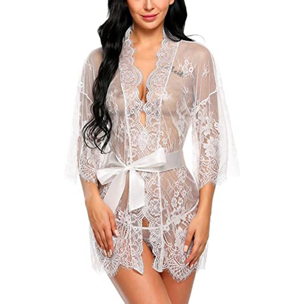Women Lace Kimono Robe Babydoll Lingerie Mesh Nightgown  white_M