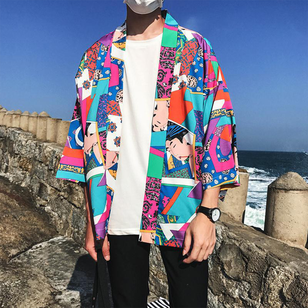 Man Handsome Loose Middle Sleeve Shirt Color Matching Leisure Shirt As shown_M