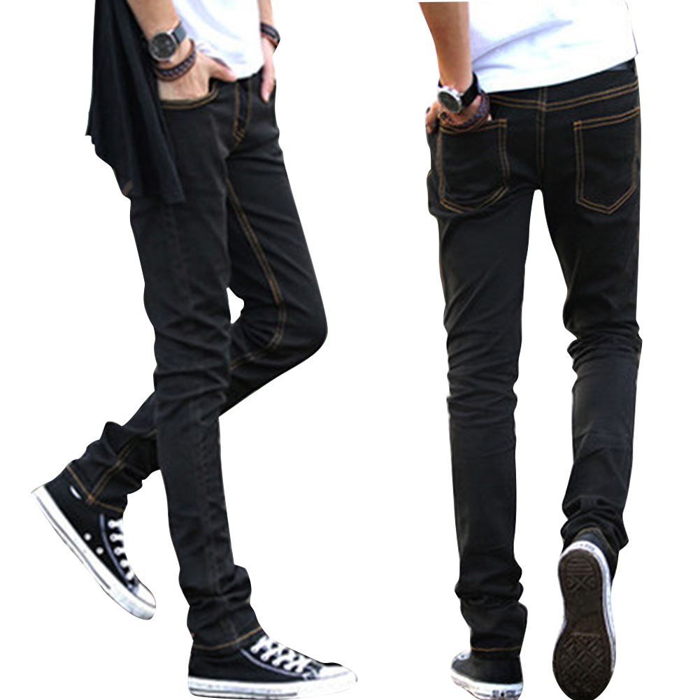 Men Slim Jeans Small Trouser Legs Medium Waist Elastic Jeans Yellow line black cloth pants_M=28