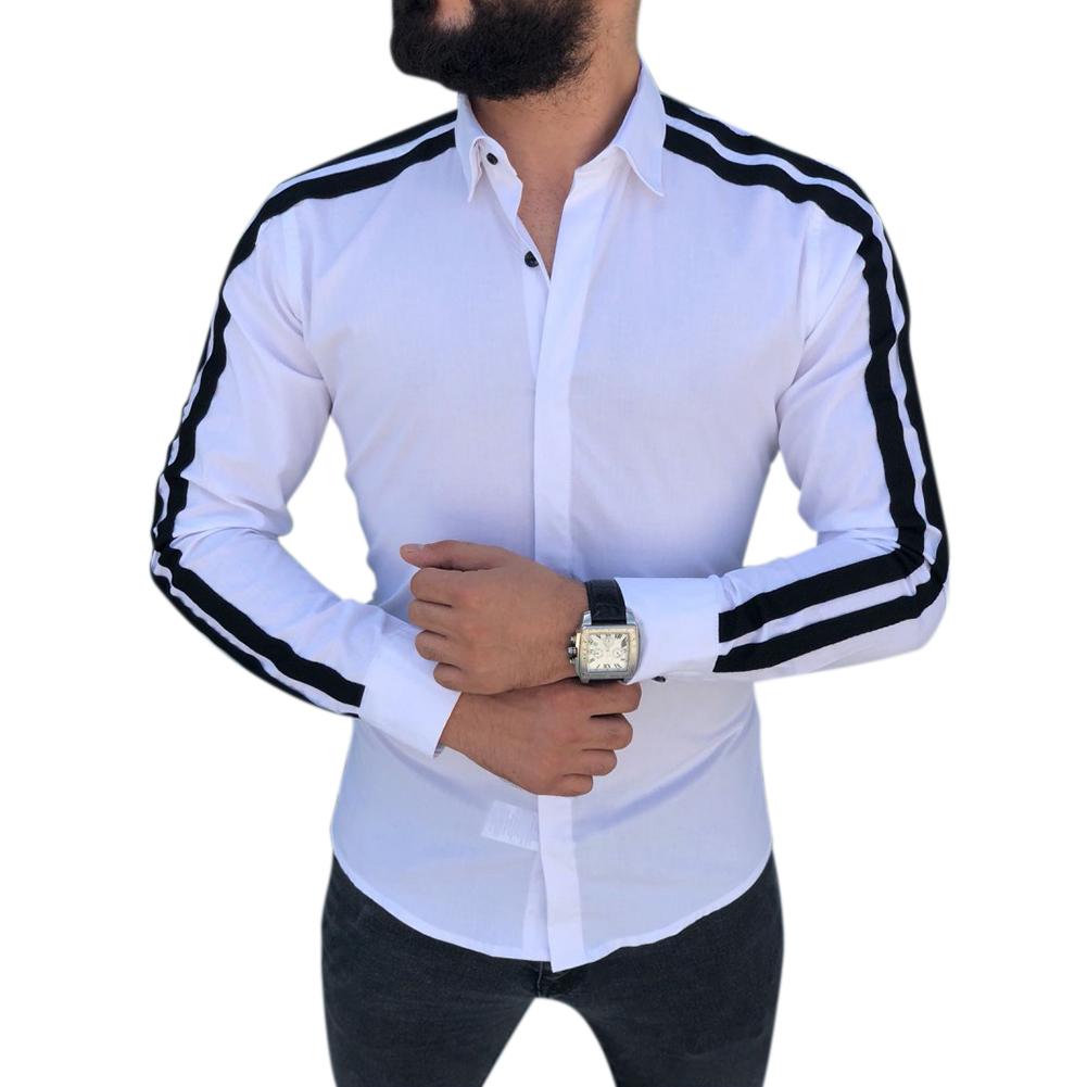 Men Stylish Casual Matching Dress Shirt Slim Fit T-Shirt Long Sleeve Formal Tops white_L