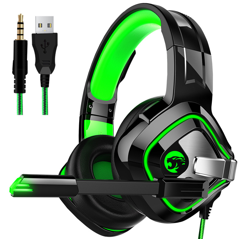 Gaming Headphone Stereo Anti-noise Headset Heavy Bass for PC Laptop Phone A66 black and green breathing light single plug version