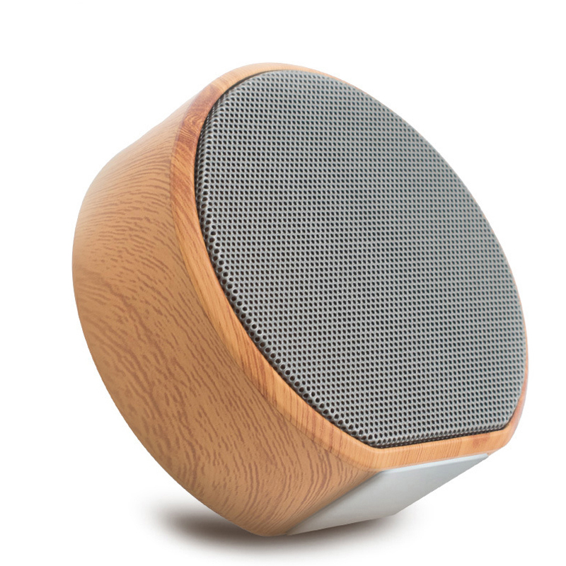 Mini Wireless Stereo Bass Portable Music Bluetooth Speakers Support TF Card  Wood grain