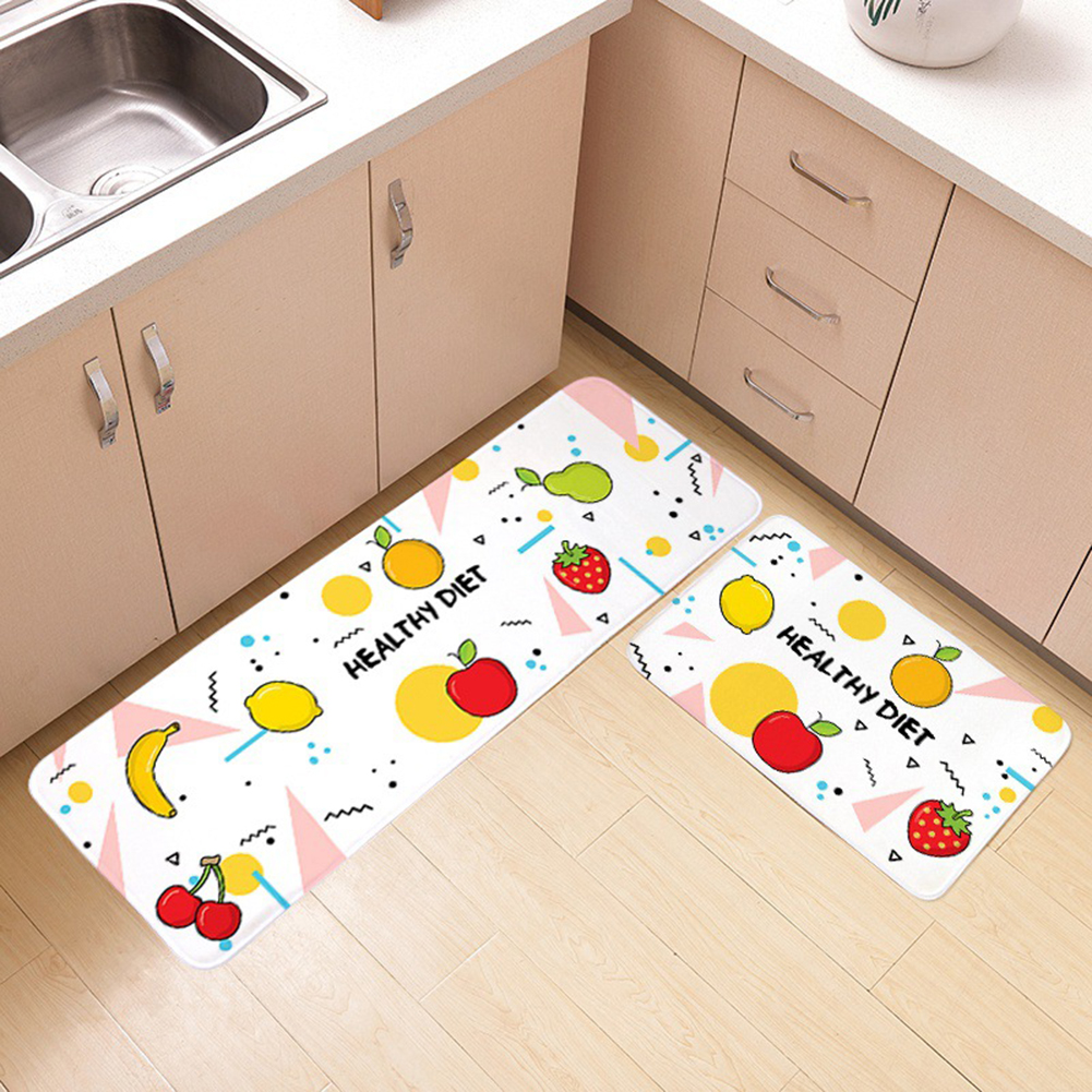 Cartoon Pattern Nonslip Plush Floor Mat for Bedroom Bathroom Kitchen Banana apple_40x120cm