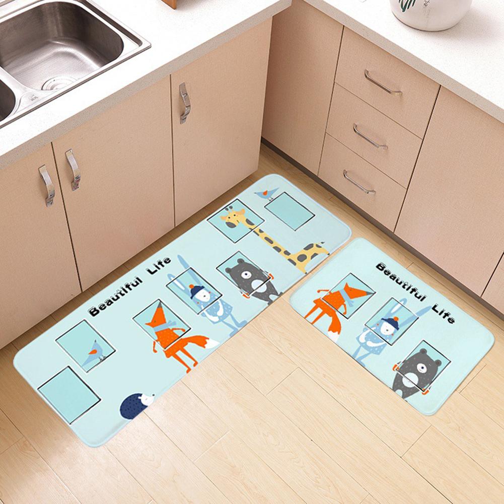 Cartoon Pattern Nonslip Plush Floor Mat for Bedroom Bathroom Kitchen fox_40x60cm