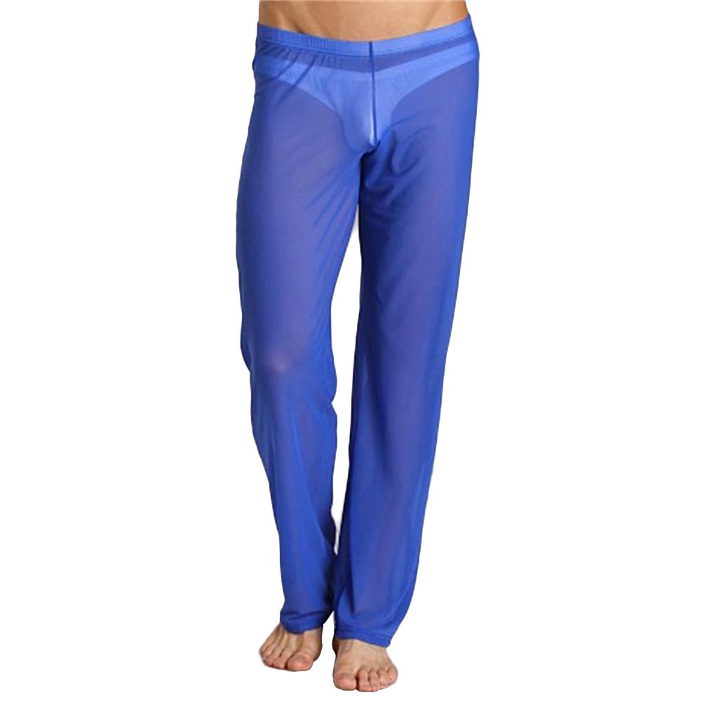 Men Sexy See-through Net Yarn Low Waist Trousers Breathable Comfortable Long Pants blue_XL