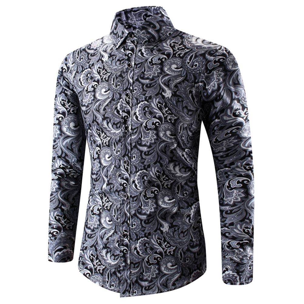 Men Spring And Autumn Simple Fashion Print Long Sleeve Shirt Tops black_XXL