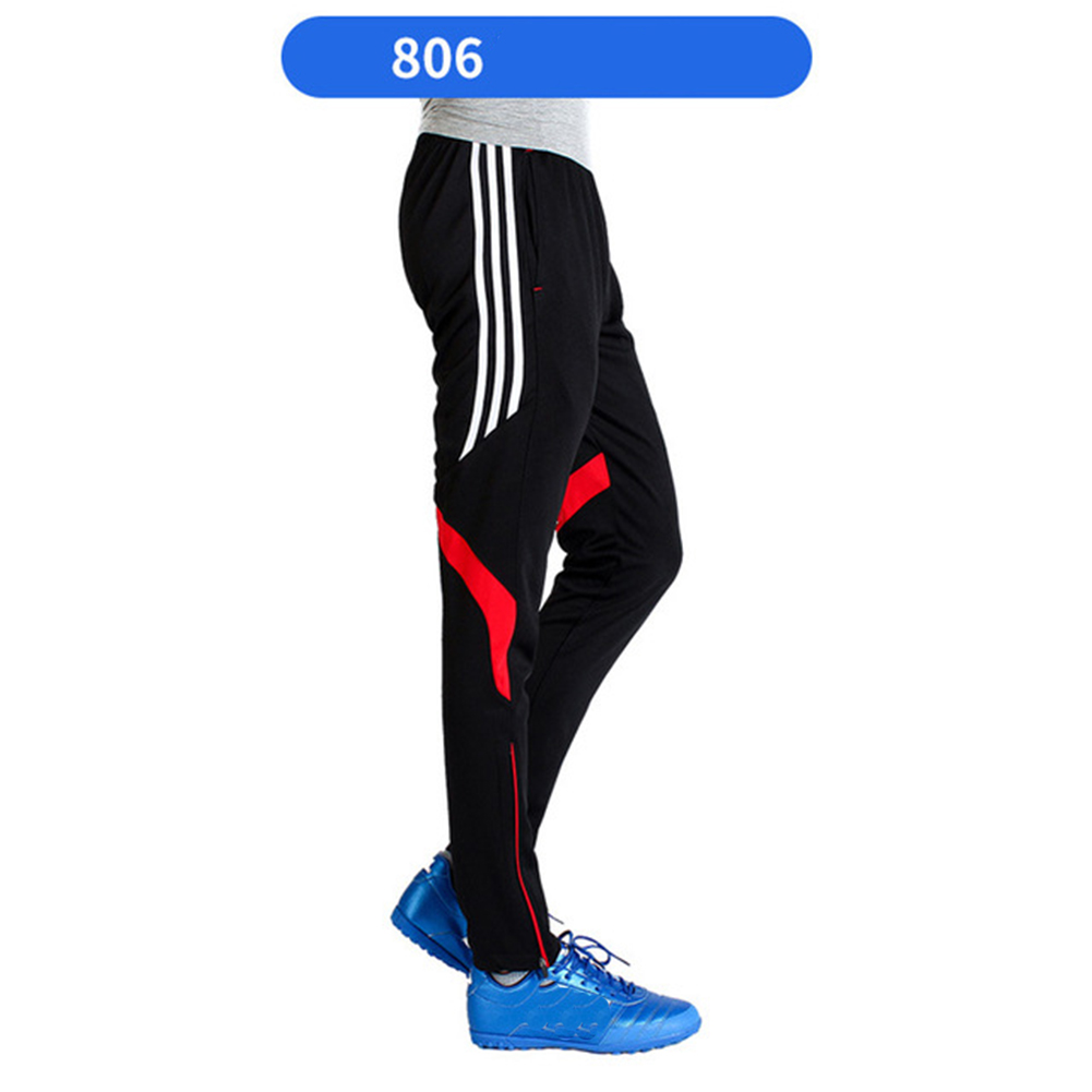 Men Fashion Athletic Training Pants Breathable Running Football Long Pants 806-red_XL