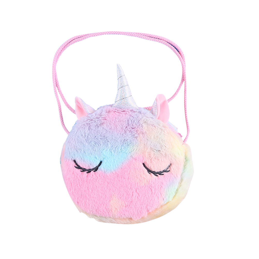 Girls  Plush Messenger Bag Portable Cartoon Single Horned  Horse Coin Purse Colorful