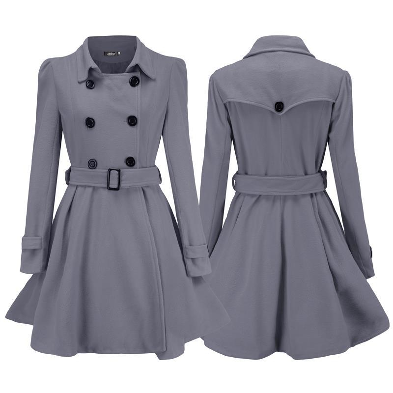Women Woolen Coat with Waistbelt Fashionable Double Breasted Middle Long Jacket Overcoat