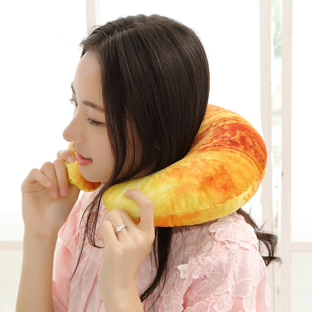 Emulational U Shape Sleep Pillow Cute Shape Neck Pillow for Travel Home Decoration bread