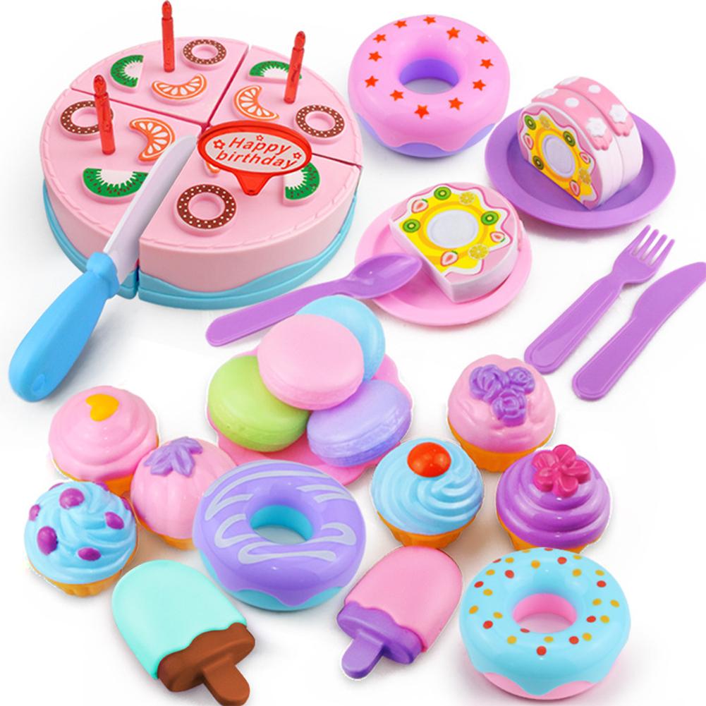 32Pcs/Set Simulate Cake + Dessert + Macarons + Doughnut + Ice Cream Play House Toy [32 sets]