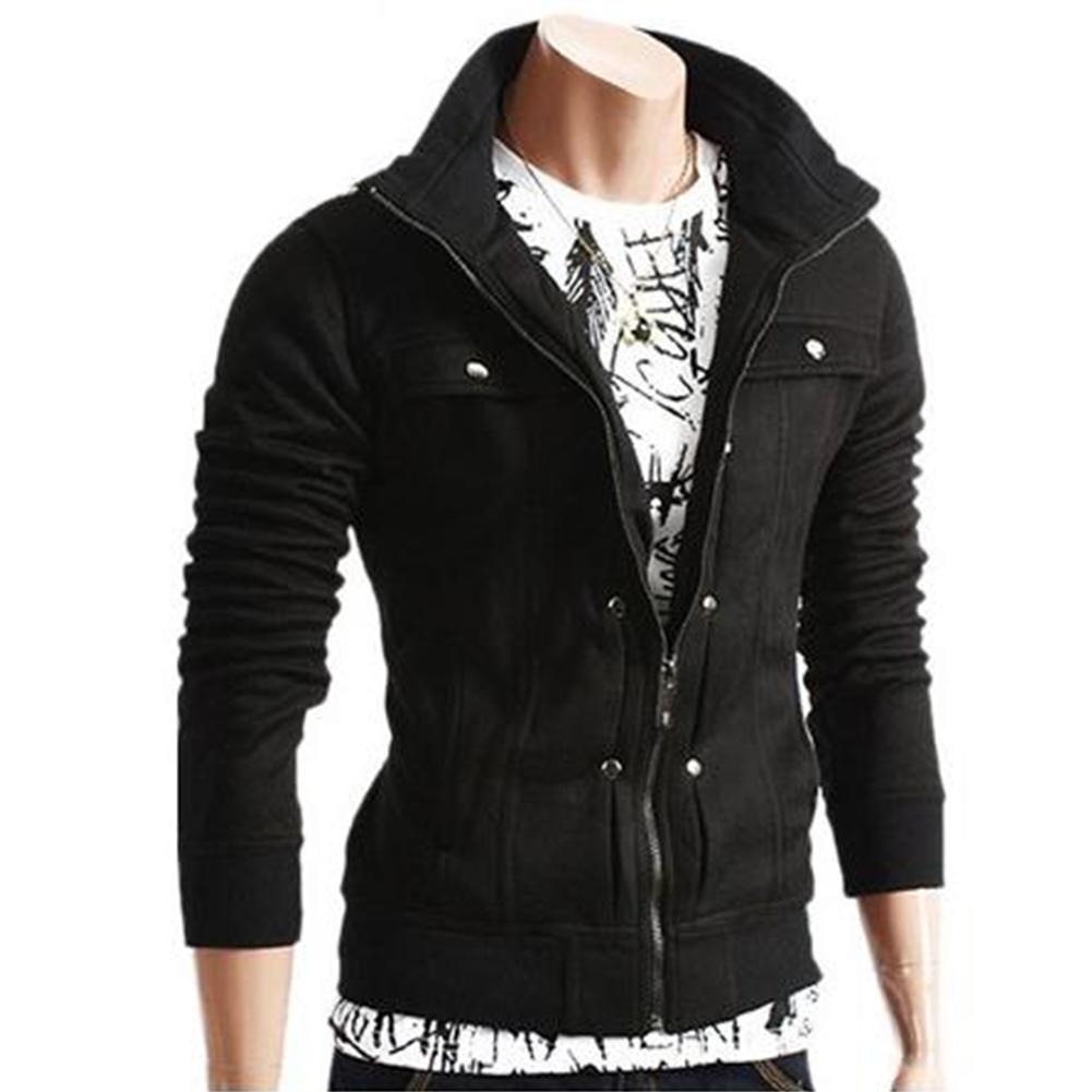 Long Sleeve Jacket Men Casual Mens Jackets And Coats  black_L