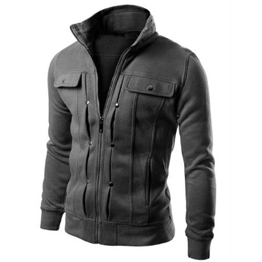 Long Sleeve Jacket Men Casual Mens Jackets And Coats  Dark gray_M