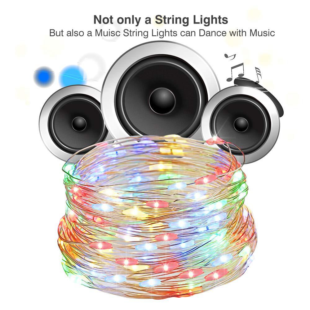 USB Charging Sound Activated  Music String Lights for Party Christmas Wedding color