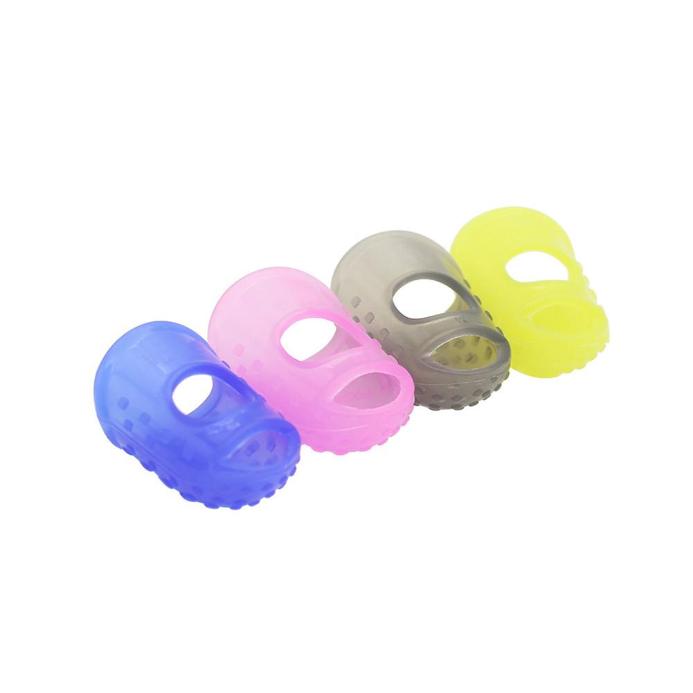 4Pcs Flexible Fingertip Protectors Left Hand Against the Press Sore Finger Ballad Silicone Guitar Accessories Random Color Random color