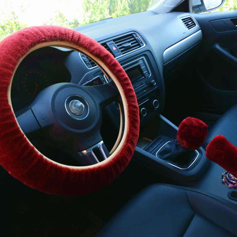 3pcs/set Car Plush Fashion Universal Steering  Wheel  Cover Plush Pull Handle Red wine