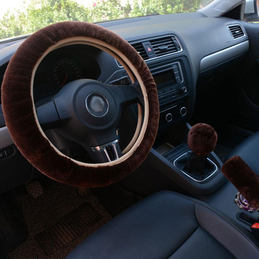 3pcs/set Car Plush Fashion Universal Steering  Wheel  Cover Plush Pull Handle Brown
