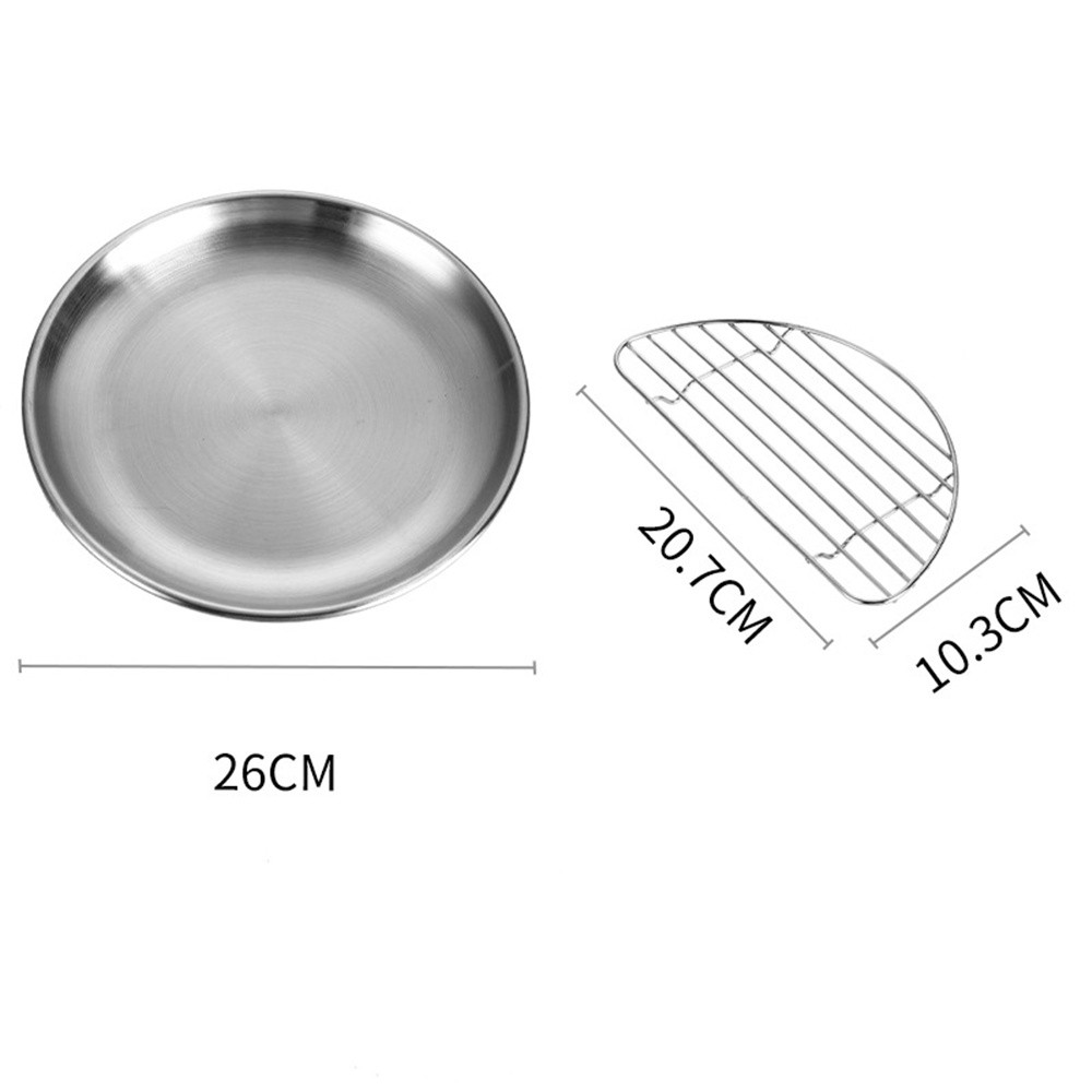 Pork Chop Plate Cafe Salad Plate Stainless Steel Plate (23cm/26cm) With Rack Large 26cm_Disc + rack