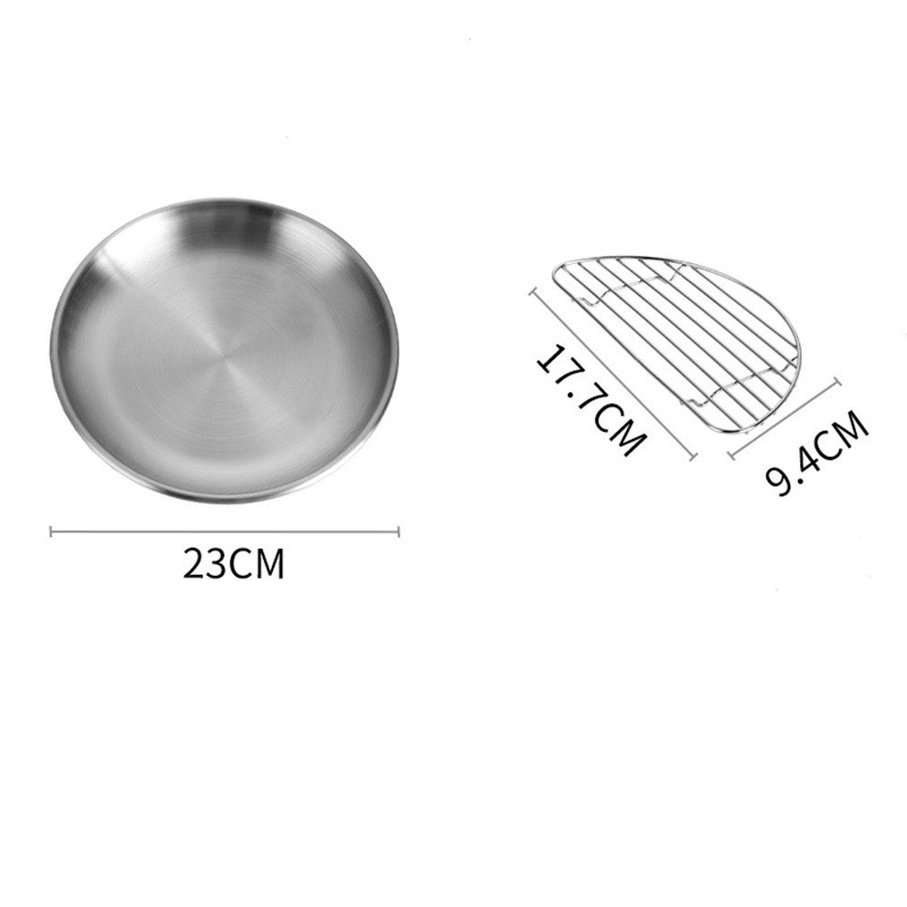 Pork Chop Plate Cafe Salad Plate Stainless Steel Plate (23cm/26cm) With Rack Small 23cm_Disc + rack