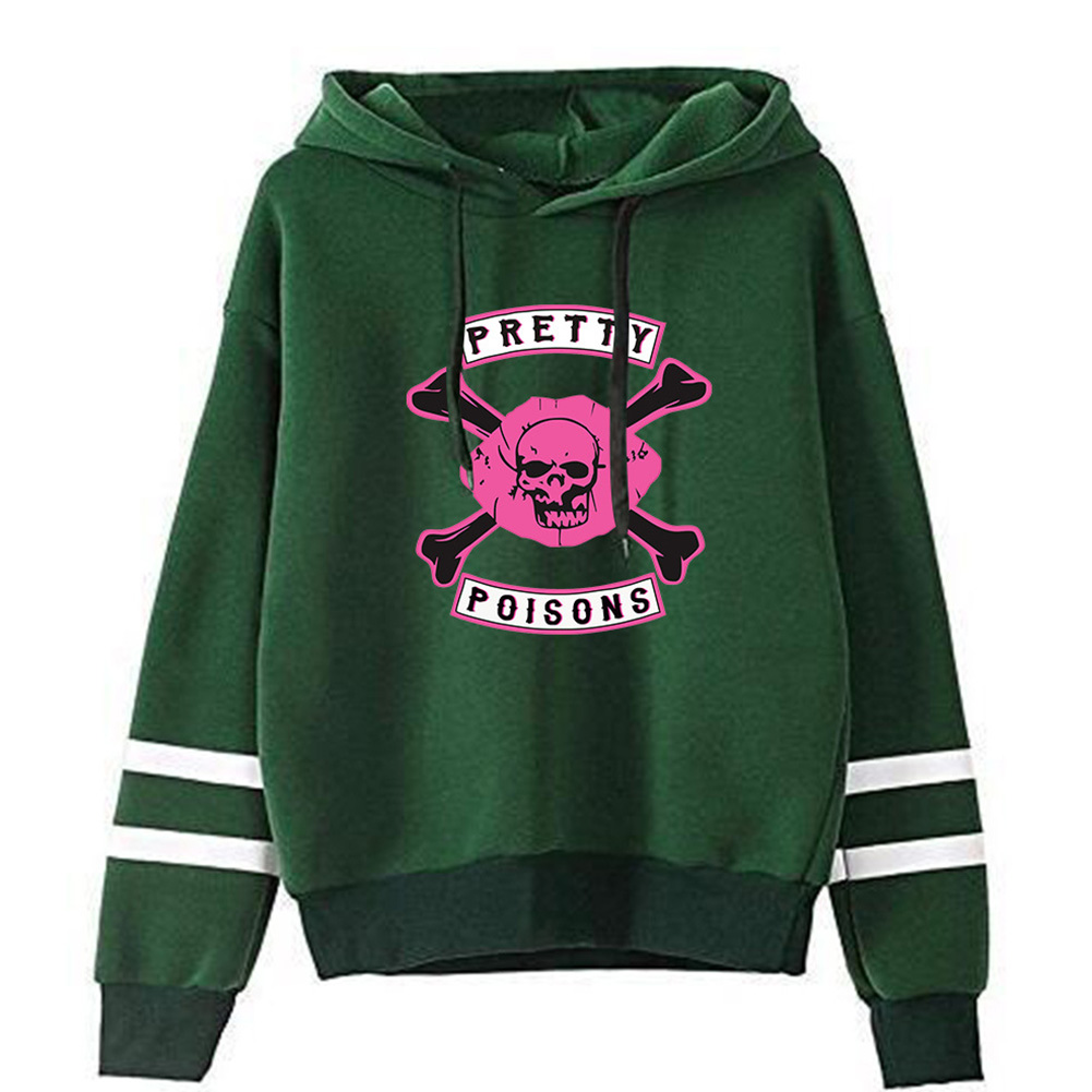 Men Women American Drama Riverdale Fleece Lined Thickening Hooded Sweater Tops Green D_L