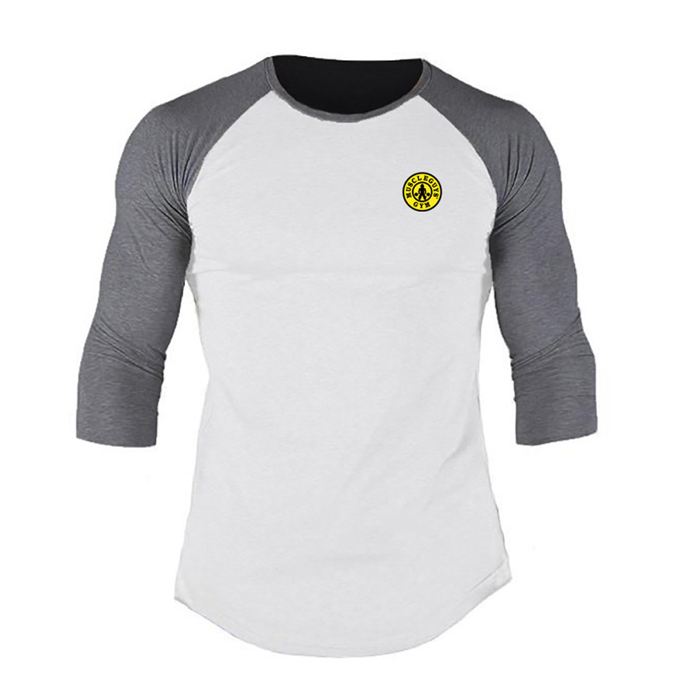 Male Casual Contrast Color Shirt Long Sleeves Top Leisure Pullover Baseball Sports Wear white_L