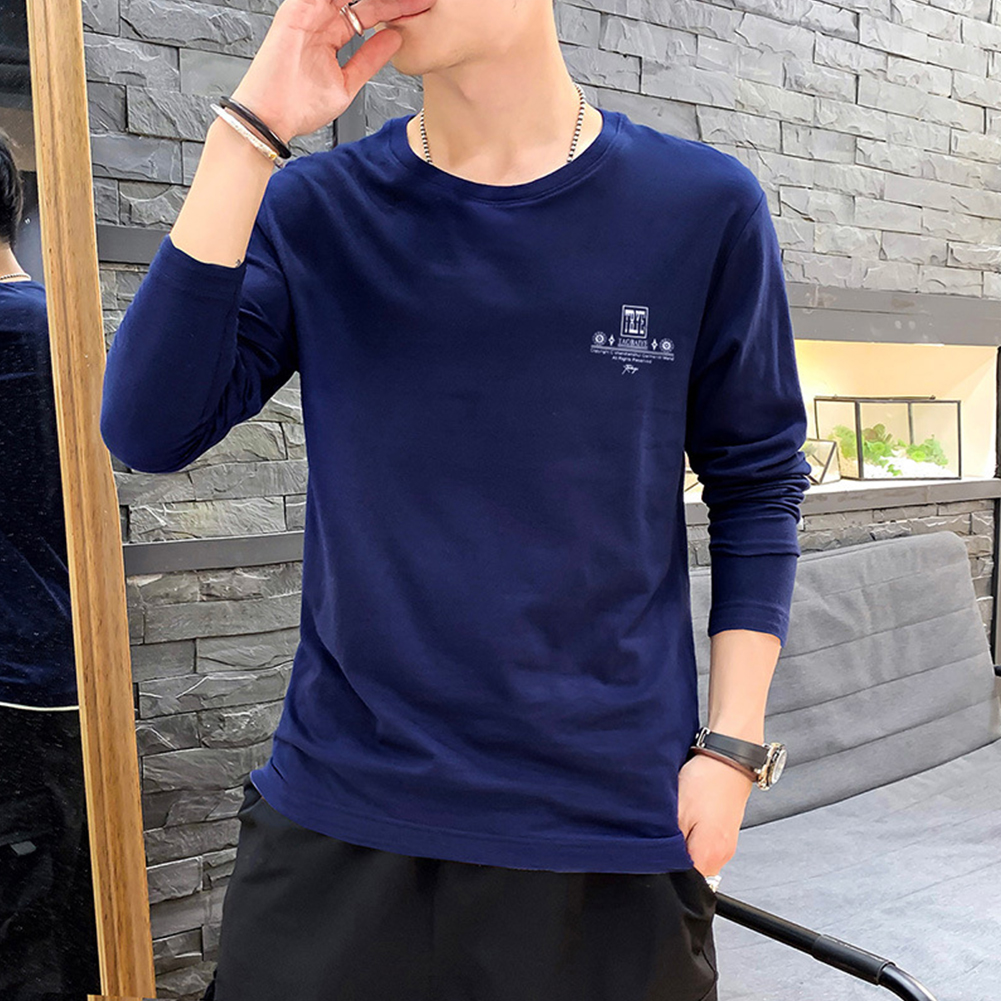 Men Autumn Long Sleeve Round Neck Solid Color Print T-Shirt Cotton Bottoming Shirt Tops blue_M
