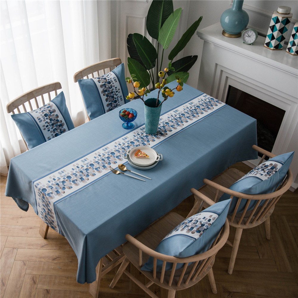 Waterproof Table  Cloth Decorative Fabric Embroidery Table Cover For Outdoor Indoor Blue stone embroidery_135*135cm