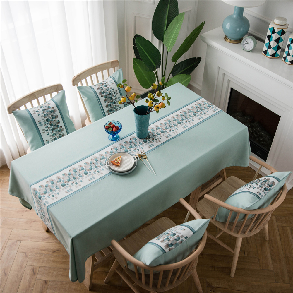 Waterproof Table  Cloth Decorative Fabric Embroidery Table Cover For Outdoor Indoor Green stone embroidery_135*135cm