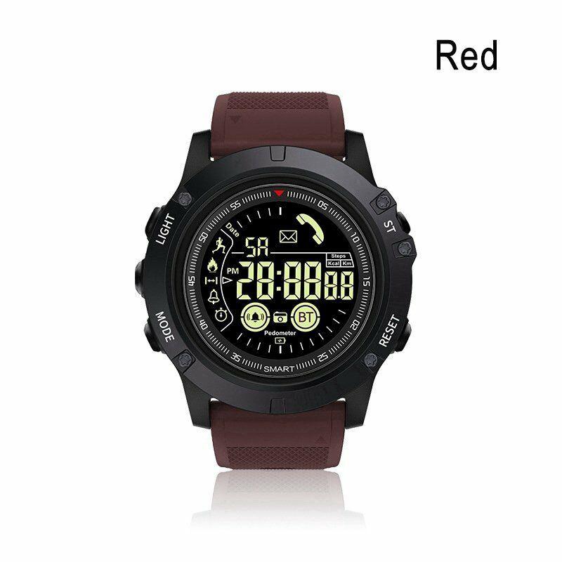 Outdoor Bluetooth IP67 Waterproof Sports Smart Watch Tactial Military Grade Watch  Red wine