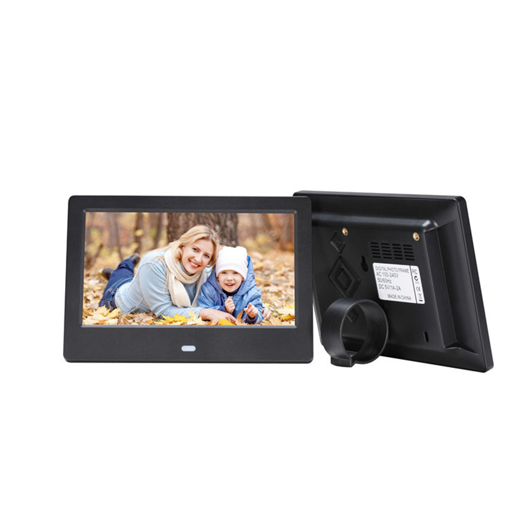 7 Inch HD LED Digital Screen Photo Frames 1024*600 Calendar/Alarm/Timer Switch /Video Player  Black EU plug