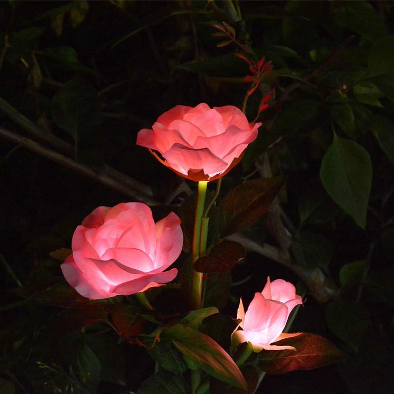 Solar  Rose  Light Led Ground Plug Garden Lawn Light Outdoor Park Simulation Flower Light Pink