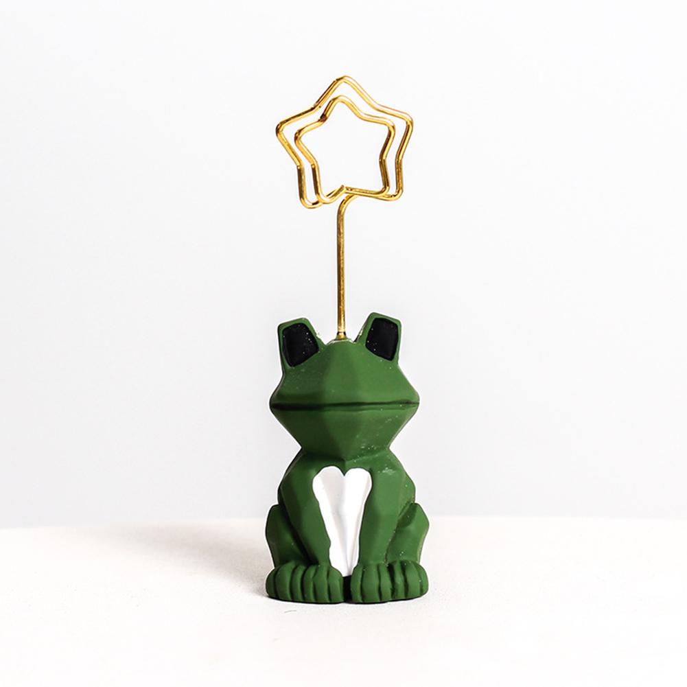 Cute Cartoon Note Holder Clip Card Holder Desktop Message Folder Photo Clip Mini Animals Resin Message Clip Ornament Crafts frog