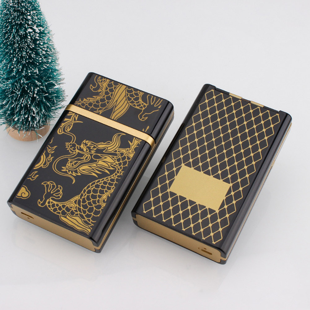 Fashion USB Charging Pressure Resistant Cigarette Case for Storage gold dragon_colorful package