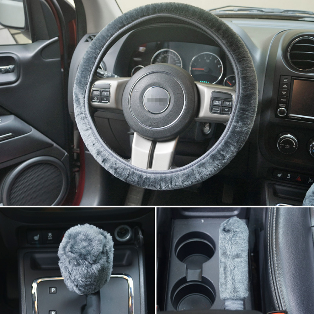 Universal Steering-wheel Plush Car Steering Wheel Covers Hand Brake Cover Gear Cover Set gray_38cm