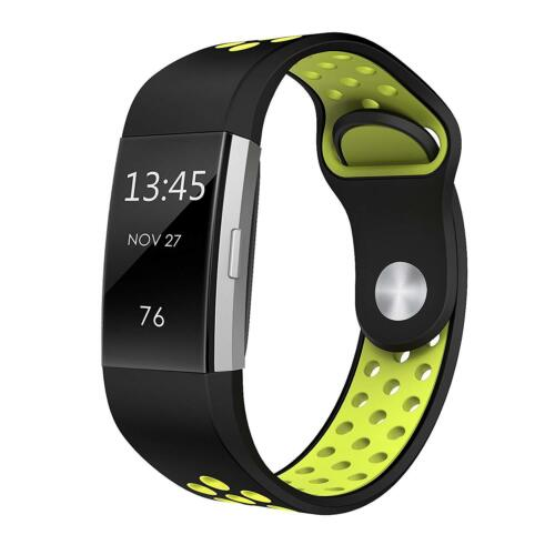 Soft Silicone Replacement Spare Sport Band Bracelet Strap for Fitbit Charge 2  Black yellow