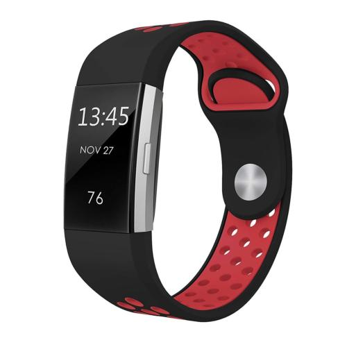 Soft Silicone Replacement Spare Sport Band Bracelet Strap for Fitbit Charge 2  Black red